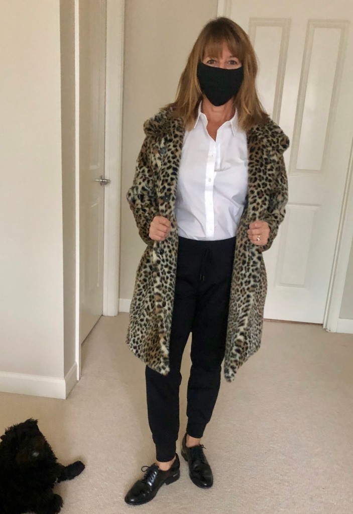 Faux Fur Coat, Loafers (Oxfords) and Mask!
